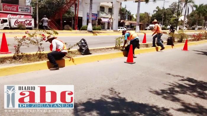 Photo of Servicios Públicos da mantenimiento a camellones de bulevar Ixtapa-Zihuatanejo